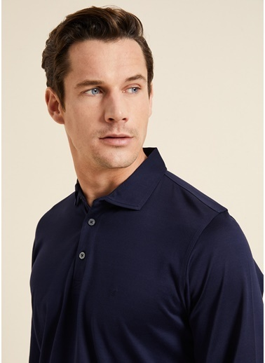Bisse SW18K18201 Regular Fit Manşetli Polo Yaka Sweatshirt Lacivert